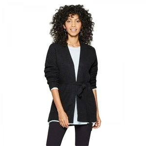 NWT A New Day Belted Cardigan Sweater Large Black
